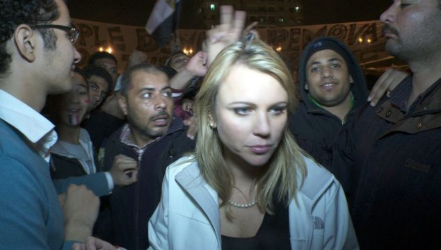 Handout photo of CBS Correspondent Lara Logan in Cairo's Tahrir Square, moments before she was assaulted