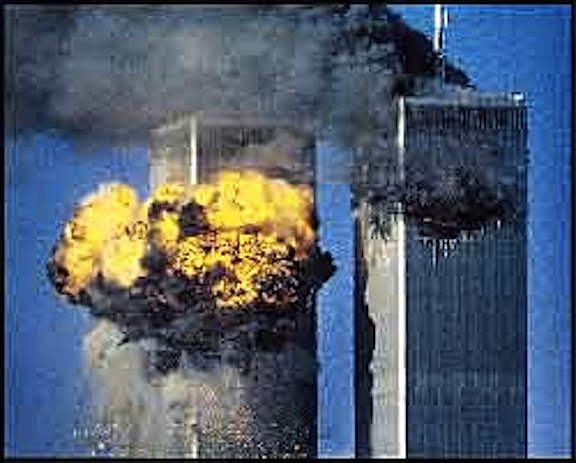 FILE PHOTO OF WORLD TRADE CENTER SOUTH TOWER IN FLAMES AFTER BEING STRUCK BY HIJACKED AIRLINER