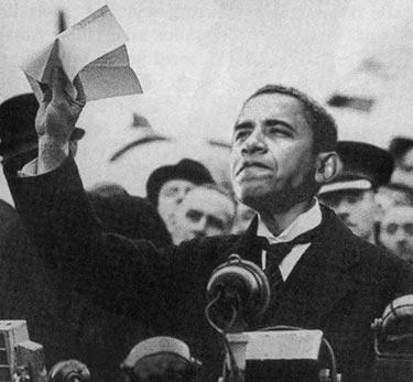 Obama holding white paper